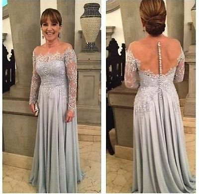 Elegant Mother Of The Bride Lace Dresses Long Wedding Evening Gown Custom Made