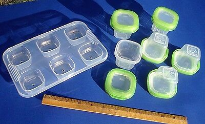 OXO 6pc set Toddler Tots Baby Blocks Freezer Storage Containers 2 ounce BPA free