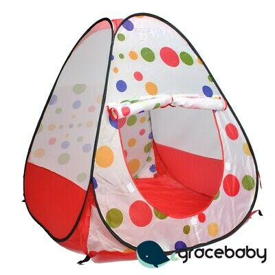 Kid Polka-Dots Hideaway Cubby House Pop Up Ball Pit Play Tent