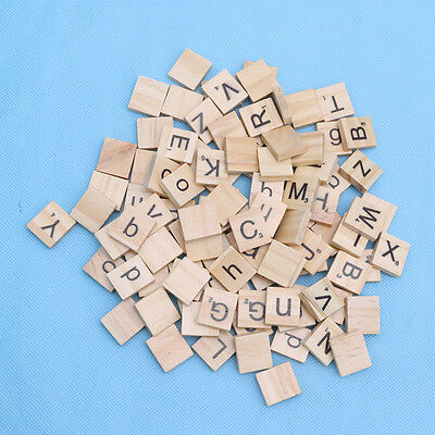 100 Wooden Alphabet Scrabble Tiles Black Letters & Numbers For Crafts Wood Hot