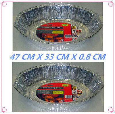 50 Pack Large Oval Foil Roaster/tray - Bbq, Fan Forced, Ovens - 47 X 33 X 0.8 Cm