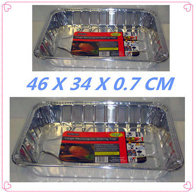10 Pack Large Rectangular Foil Roaster/tray - Bbq, Fan Forced, Ovens - 46X34X0.7