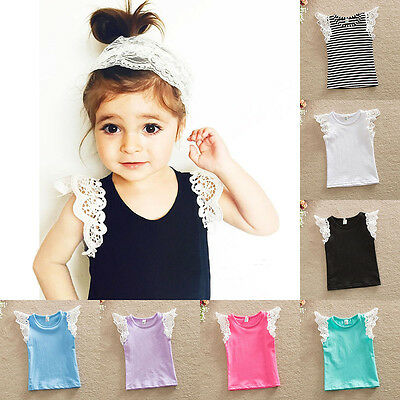 Toddler Kid Baby Girls Lace Sleeve T-shirt Tops Summer Cotton Blouse Casual Vest