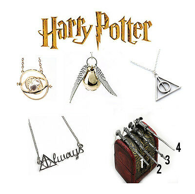 Harry Potter Necklace Time Turner Golden Snitch Magic Wand Deathly Hallows