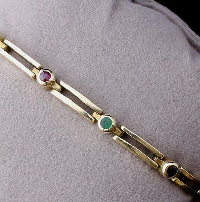 14ct Vintage Yellow Gold, Green Emerald, Red Ruby and Blue Sapphire Bracelet.