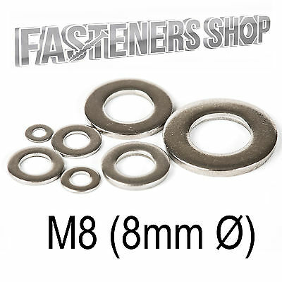 Size M8 (8mm Ø) Flat Washers A Type DIN 125 A Stainless Steel A2