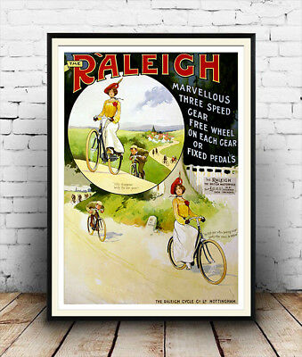 Raleigh Bicycle Three speed : Vintage Cycling advertising  , poster, Wall art.