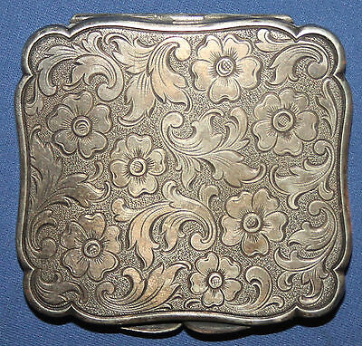Antique Ornate Floral Silver Plated Powder Compact Mirror Case