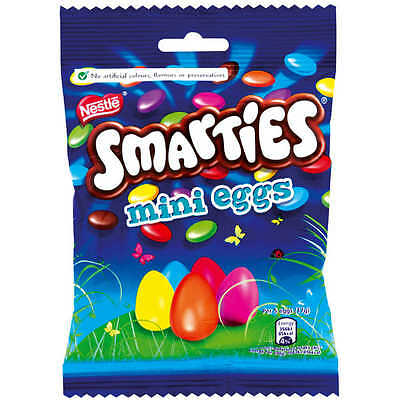 Nestle Smarties Mini Eggs Full Box 12X100G Bags Chocolate Party Favours Wedding
