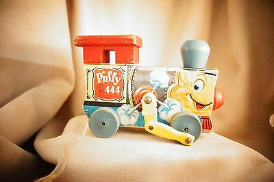 """Vintage FISHER PRICE  444 """"PUFFY"""" Train Engine Wooden Pull Toy"""