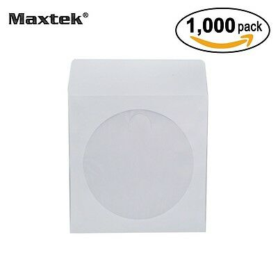 SALE! Maxtek® 1,000 CD DVD R CDR White Paper Sleeves with Flap & Clear Window