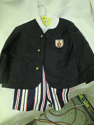 Vintage Atkinson Jr Little Boy's Suit Blazer shirt bib shorts sz 4