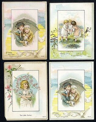 BIRTHDAY - NEW YEAR 4 VICTORIAN 1880s GREETING CARDS Cute Children Winter Spring
