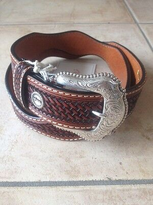 *new* Wrangler Mens Kids Belts Carved Buckle Western Country Rodeo Work Farm