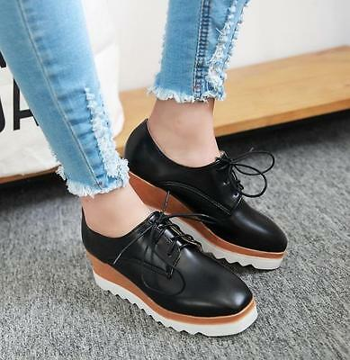 392aa1fed59 Womens New Solid Wedge Mid Heels Platform Lace up Brogue Oxford Punk Shoes  Size