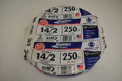 250 FT Roll 14/2 With Ground ROMEX Copper Electrical Wire 600Volt *NEW*
