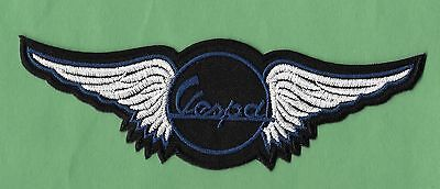 "NEW Vespa 'Blue Wings' 1 3/4 X 5 3/4 "" IRON ON PATCH FREE SHIPPING"