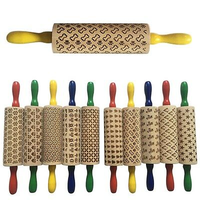 Wood Embossing Rolling Pin Paste Embossed Fondant Cake Sugarcraft Decor DIY GN