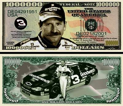 Dale Earnhardt Sr. Million Dollar Bill Collectible Funny Money Novelty Note
