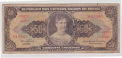 (WU-27) 1961 Brazil 50 CRUZEROS Bank Note (I)