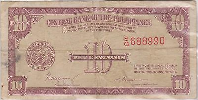 (WU-6) 1949 Philippines 10 CENTAVOS Bank note (B)