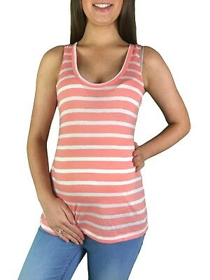 BNWT Striped Maternity Tank Top - Pink & White - Sizes 8,10 & 12