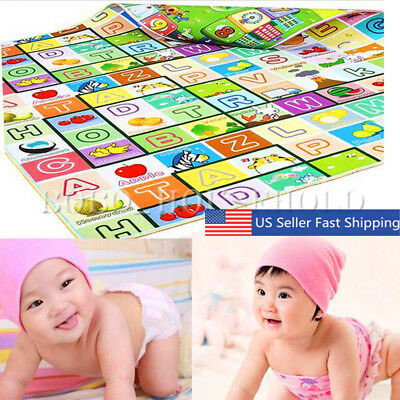 Double Side Letter Alphabet Game Baby Kid Crawl Play Mat Children Floor Rug US