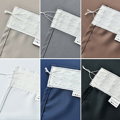 Pure Fabric Blockout Pencil  Pleat  Tape Curtains Blackout Room Darkening