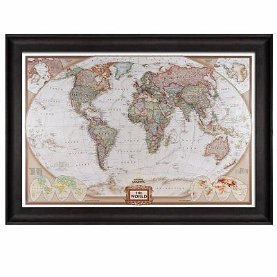 colorful national geographic antique world map framed art prints 24x36 inches