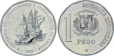 COIN (DFE) Dominican Republic 1 Peso 1989 KM# 74 Discovery and Evangelization