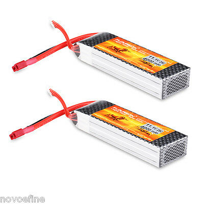 2xFLOUREON Lipo Battery 11.1V 4000mAh 3S 25C Pack T Plug for RC Helicopter Hobby
