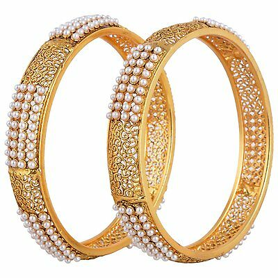 Indian Fashion Jewelry Bangles Bracelets Bollywood Ethnic Gold plated pearl kada