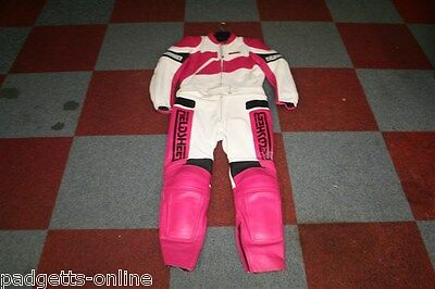 Fieldsheer White Pink Black Two Piece Leather Motorcycle Suit Size Uk 42