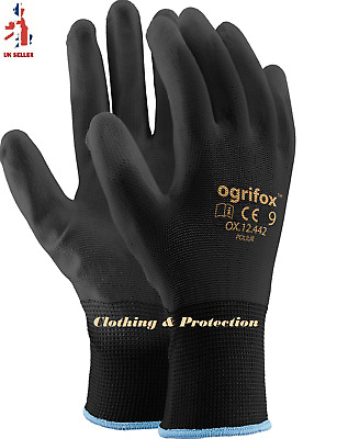 12 Pairs Nylon Black Work Gloves Pu Coated, Builders Mechanic Construction Grip
