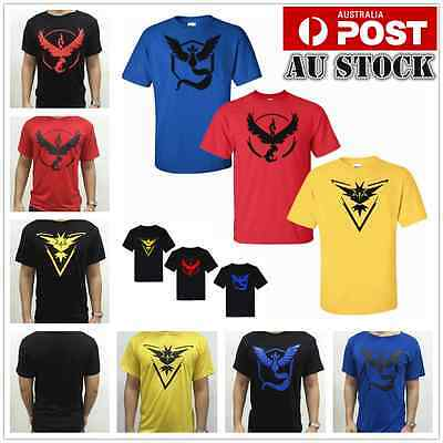 men women Pokemon Go Team Valor/Mystic/Instinct Pokeball nerd Tee shirt FREEPOST