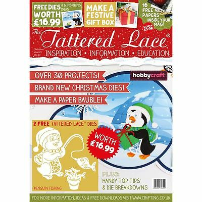 Hobbycraft Tattered Lace Magazine Christmas Issue + 2 Free Cutting Dies Craft