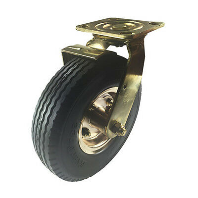 "8"" x 2-1/2"" Pneumatic Wheel Brass Caster (Foam-Flat Free) - Swivel with Brake"