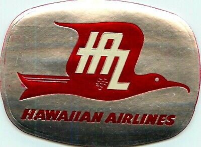 Hawaiian Airlines ~HAWAII~ Great Old Silver Foil Luggage Label, 1955
