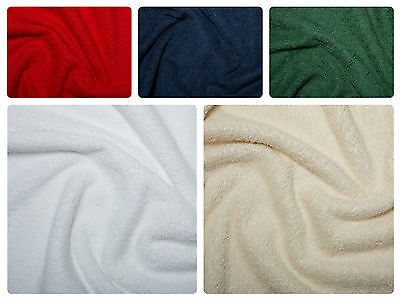 "Cotton Terry Towelling Fabric - Plain Solid Colours Material 59""/150cm wide"