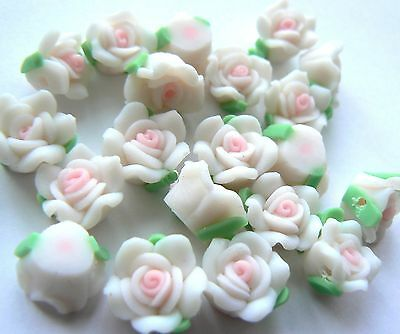 Beads - Polymer Fimo Clay Flower 10x7mm White with Pink decoration x 20 beads