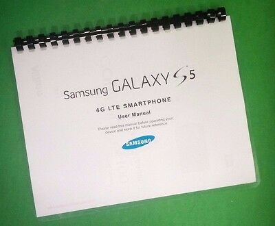 COLOR PRINTED Samsung Galaxy Phone S5 4G LTE Manual, User Guide 103 Pages