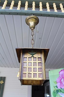 Slag Glass Porch Or Entry Light Fixture , Pendant , Mission Style Art & Craft
