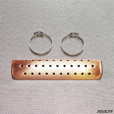 "Copper Universal Heat Shield w/ Clamps 9"" Ryca Motors Bobber Chopper Cafe Racer"