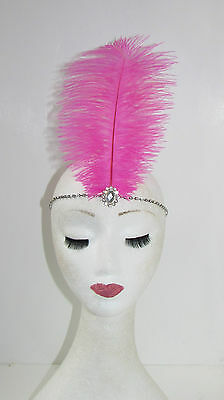 Hot Pink Silver Ostrich Feather Headpiece 1920s Headband Flapper Vintage 30s 326