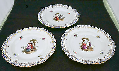 3  Antique Meissen KPM Royal Berlin Hand Painted Reticulated Cabinet Plates