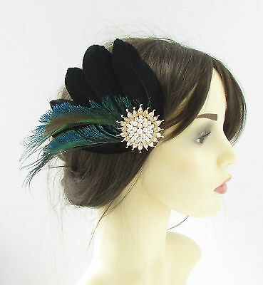 Black Green Gold White Feather Fascinator Hair Clip 1940s Peacock Vintage 333