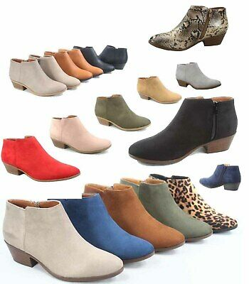 7d78f40ad1f Women s Low Chunky Heel Zipper Almond Toe Ankle Booties Shoes Size 5.5 - 11  NEW