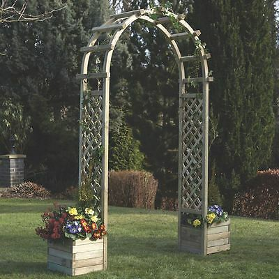 Trellis Arch WITH 2 Planters Wooden Climbing Plants Flowers STURDY Round Top NEW