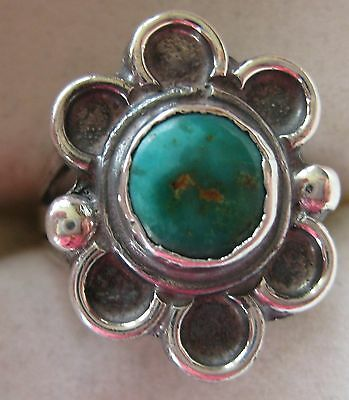 Estate Sterling Silver Turquoise Ring Size 4 Hand Made Tribal Flower 4.7 Gr