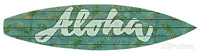 Aloha Surfboard Plaque Wood Sign - 36x8
